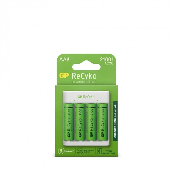 GP ReCyko standardoplader E411 inkl 4 AA Batteries