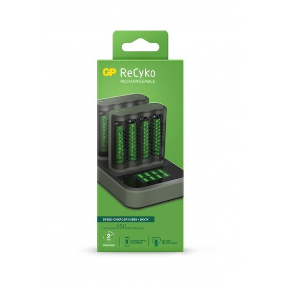 GP ReCyko 2x Speed-charger M451 (USB) med ladestation D851 og 8 stk. AA 2600 mAh NiMH-batteries