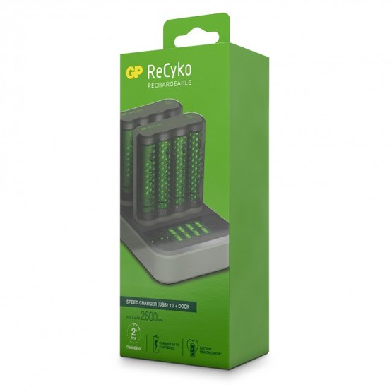 GP ReCyko 2x Speed-oplader M451 (USB) med ladestation D851 og 8 stk. AA 2600 mAh NiMH-batteries