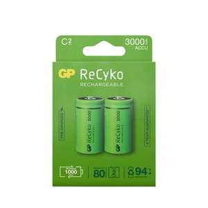 GP ReCyko C-batteri, 3000mAh, 2-pack