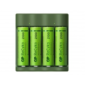 GP ReCyko Everyday-oplader B421 (USB), inkl. 4 stk. AA 2100mAh NiMH-batterier