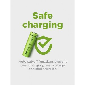 GP ReCyko Everyday-oplader B421 (USB) ladestation D451, with 4 stk. AA 2100mAh NiMH-batteries