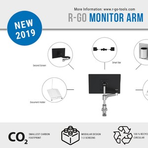RGOVLZE4SBSI R-Go Zepher 4 Monitorarm med Smart Bar Silver